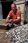 Besides dairy and agriculture, fishing is one of the main occupations on Terceira, Azores. A fisherman baits line hooks with sardines that will catch conger, moray eels, mackerel, snapper, bream and swordfish.  (Jim Bryant Photo).....