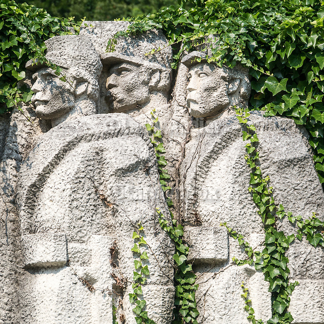 Communist-era public monument commemorating the centennial of the Russo-Turkish war of 1877, Gabrovo, Bulgaria, in the central Balkan Mountains.