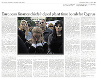 """Bank of Cyprus employees, some of them in tears, swarmed the Central Bank in Nicosia on Tuesday to demand the resignation of its chief. The country's banks will remain closed until Thursday morning as many fear for their life savings and jobs. """"European finance chiefs helped plant time bomb for Cyprus,"""" photograph by Amanda Rivkin / VII Mentor Program for The International Herald Tribune, March 27, 2013, p. 19."""