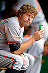 19 June 2011: Baltimore Orioles' infielder Mark Reynolds sits in the dugout prior to facing the Washington Nationals on Father's Day at Nationals Park in Washington, District of Columbia. The Orioles defeated the Nationals 7-4 in inter-league play, ending Washington's 8-game winning streak. Mandatory Credit: Ed Wolfstein Photo