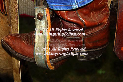 Detail of a Cowboy Boot and Stirrup , Hand stitched , Handmade