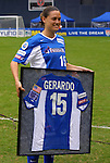 26 April 2003: Monica Gerardo receives a framed jersey before her final professional game. The Washington Freedom tied the Atlanta Beat at RFK Stadium in Washington, DC in a regular season WUSA game..Mandatory Credit: Scott Bales/Icon SMI