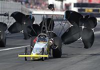Nov 12, 2016; Pomona, CA, USA; NHRA top alcohol dragster driver Don St. Arnaud during qualifying for the Auto Club Finals at Auto Club Raceway at Pomona. Mandatory Credit: Mark J. Rebilas-USA TODAY Sports