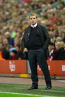 LIVERPOOL, ENGLAND - Thursday, October 4, 2012: Liverpool's manager Brendan Rodgers during the UEFA Europa League Group A match against Udinese Calcio at Anfield. (Pic by David Rawcliffe/Propaganda)