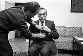 WARSAW, POLAND, SEPTEMBER 18,1991:Polish Prime Minister Tadeusz Mazowiecki getting ready for a TV interview at his home in Warsaw.<br /> (Photo by Piotr Malecki / Napo Images)<br /> <br /> WARSZAWA, 18.09.1991:<br /> Premier Tadeusz Mazowiecki przygotowuje sie do wywiadu telewizyjnego w swoim domu w Warszawie.<br /> Fot: Piotr Malecki / Napo Images
