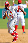 8 March 2006: Junior Spivey, infielder for the St. Louis Cardinals, hustles back to first base during a Spring Training game against the Washington Nationals. The Cardinals defeated the Nationals 7-4 in 10 innings at Space Coast Stadium, in Viera, Florida...Mandatory Photo Credit: Ed Wolfstein.