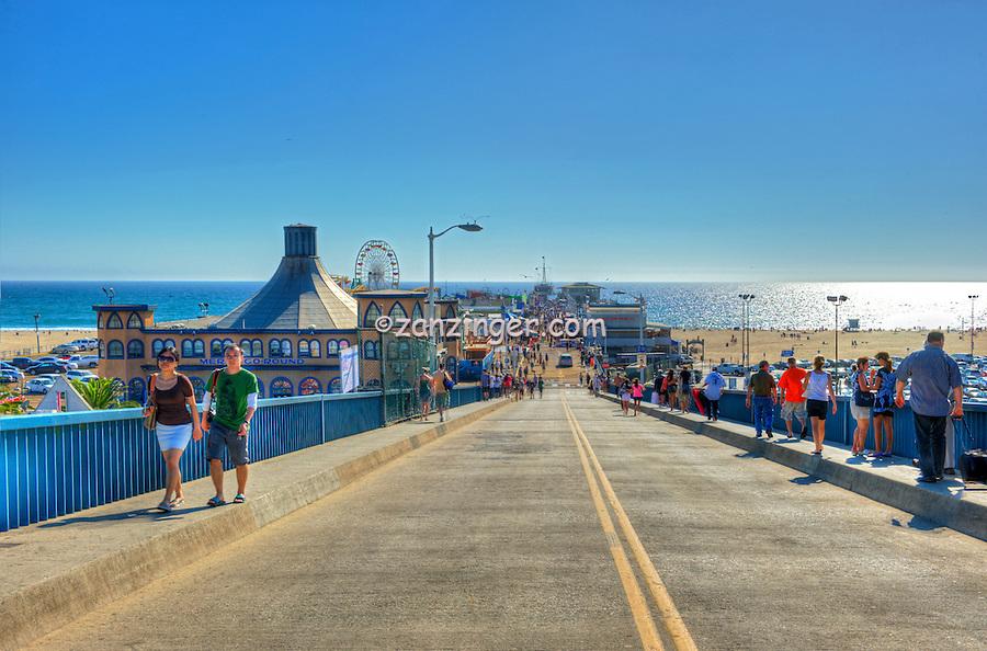 Santa Monica Ca, Pier Entrance Ramp, Pacific Park, Ca, Santa Monica Pier, Amusements, Roller Coaster,Ferris Wheel, Over Water, mix of stores, restaurants, Beautiful, United States of America, North America Ferris Wheel,