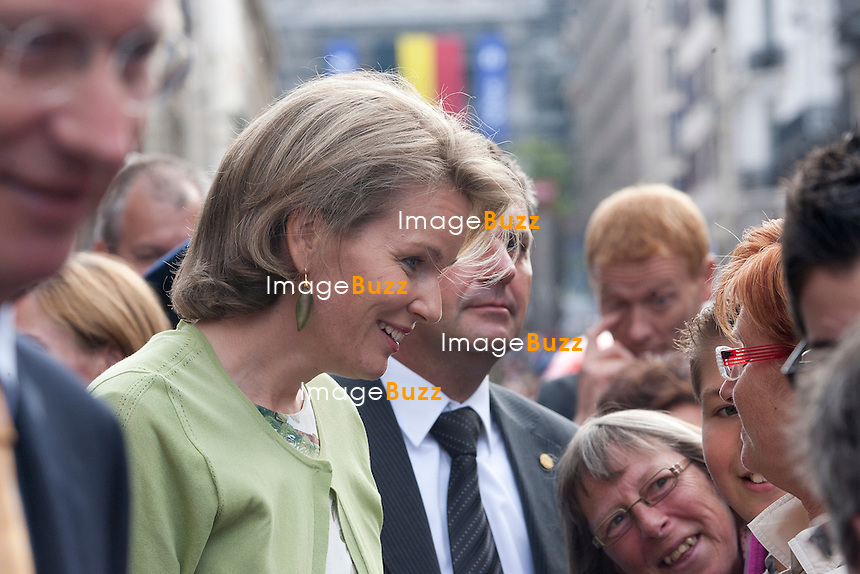 Princess Mathilde of Belgium and Crown Prince Philippe of Belgium  pictured on the streets of Brussels on the occasion of today's Belgian National Day, Saturday 21 July 2012 in Brussels.