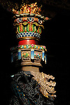 Bao-jhong Yi-min Temple, Kaohsiung -- Ornate pillar in the interior of a Taiwanese temple.