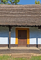 Door detail from thatched and painted vernacular house Dumitra, Alba. Built: c19. Dimitrie Gusti National Village Museum (Muzeul Satului) in Bucharest, Romania