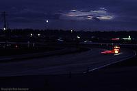 Night scene during the 1983 24 Hours of Daytona at Daytona International Speedway, Daytona Beach, Florida.