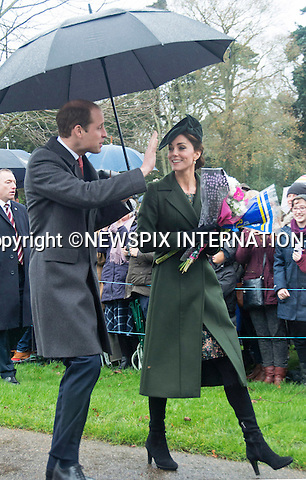 25.12.2015, Sandringham; UK: KATE, DUCHESS OF CAMBRIDGE<br /> joined other members of the Royal Family at the Christmas Day Church Service at St. Mary Magdalene's on the Sandringham Estate.<br /> Royals in attendance included the Queen, Prince Philip, Prince Charles, Camilla, Prince Andrew, Princesses Beatrice and Eugenie, Princes William and Harry, Princess Anne, Tim Laurence, Prince Edward, Sophie Wessex, The Linleys and The Chattos<br /> MANDATORY PHOTO CREDIT: &copy;Xavier Bardolph-AvantImage/NEWSPIX INTERNATIONAL<br /> <br /> (Failure to credit will incur a surcharge of 100% of reproduction fees)<br /> <br /> Different fees may be applicable to some images, please contact us.<br /> Newspix International, 31 Chinnery Hill, Bishop's Stortford, ENGLAND CM23 3PS<br /> Tel:+441279 324672<br /> Fax: +441279656877<br /> Mobile:  07775681153<br /> e-mail: info@newspixinternational.co.uk<br /> All Fees Payable To Newspix International