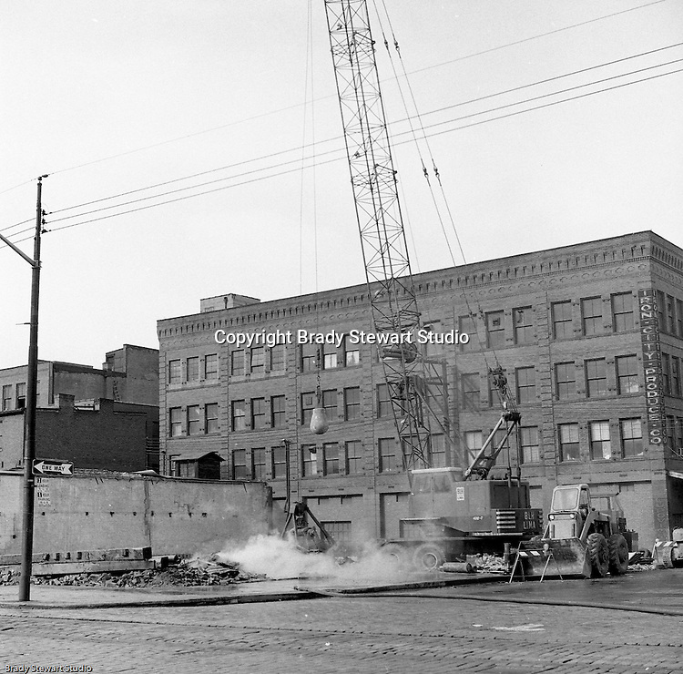 Pittsburgh PA:  The ongoing demolition of distressed buildings in the strip district to create revenue generating parking lots and areas for future development.<br /> Photos take from the Smallman Street.