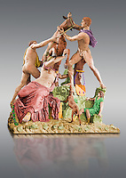 Painted colour verion of 2nd century AD Roman marble sculpture known as the Farnese Bull from the Baths of Caracalla, Rome, Farnese Collection, Museum of Archaeology, Italy
