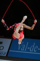 Liubov Charkashina of Belarus split leaps with rope at 2007 Thiais Grand Prix near Paris, France on March 25, 2007.