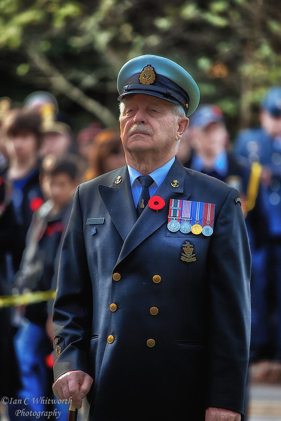 A proud veteran stands during the Oakville Remembrance Day ceremonies.