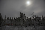 December moonlight pushes through snowclouds above Finland&rsquo;s boreal forest, 300km north of the Arctic Circle.  Lake Muddusj&auml;rvi, Inari, Finnish Lapland, 2011