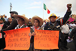 Electric workers union march protest on the Mexico City's main plaza Zocalo with more than 700 unions and social organizations as part of a  national strike along to demand to reverse the decision to diissolve the Luz y Fuerza del Centro state company. November 11, 2009. Photo by Heriberto Rodriguez