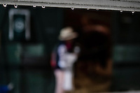 HALLANDALE, FL - JANUARY 27: Onlooker peeks in California Chrome Stall, at Gulfstream Park Race Course on January 27, 2017 in Hallandale Beach, Florida. (Photo by Douglas DeFelice/Eclipse Sportswire/Getty Images)