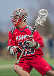 18 April 2015: University of Hartford Hawk Midfielder Trevor O'Brien, a Freshman from Duxbury, MA, in action against the University of Vermont Catamounts at Virtue Field in Burlington, Vermont. The Cats defeated the Hawks 14-11 in the final home game of the 2015 season. Mandatory Credit: Ed Wolfstein Photo *** RAW (NEF) Image File Available ***