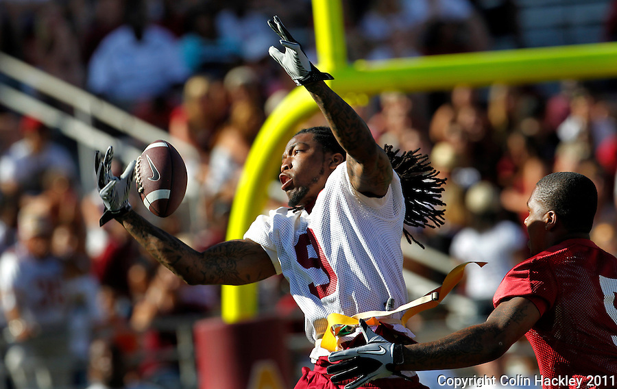 TALLAHASSEE, FLA. 4/16/11-FSUG&G041611 CH-Former  Florida State wide receiver Richard Goodman makes an interception in front of  University Garnet and Gold game Saturday in Tallahassee..COLIN HACKLEY PHOTO