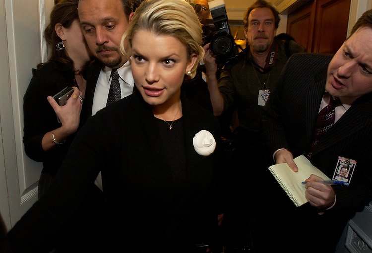 Actress and Operation Smile International Youth Ambassador Jessica Simpson arrives at a news conference to discuss the charity which is a private, not-for-profit, volunteer medical services organization providing free reconstructive surgery and healthcare to children around the world suffering with facial deformities.  Simpson was on the Hill to talk to members of Congress about her trip to help children in Nakuru, Kenya in October 2005.