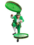 Cheerful Leprechaun playing with two flip n flyers isolated on white background