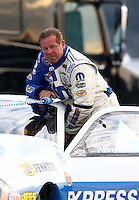 Feb 8, 2014; Pomona, CA, USA; NHRA pro stock driver Allen Johnson during qualifying for the Winternationals at Auto Club Raceway at Pomona. Mandatory Credit: Mark J. Rebilas-