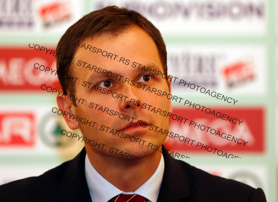 BELGRADE, SERBIA - DECEMBER 07:  President of Belgrade City Sinisa Mali talks to the media during a press conference for the 20th SPAR European Cross Country Championships at the Belgrade City Hall on December 7, 2012 in Belgrade, Serbia. (Photo by Srdjan Stevanovic/Getty Images)