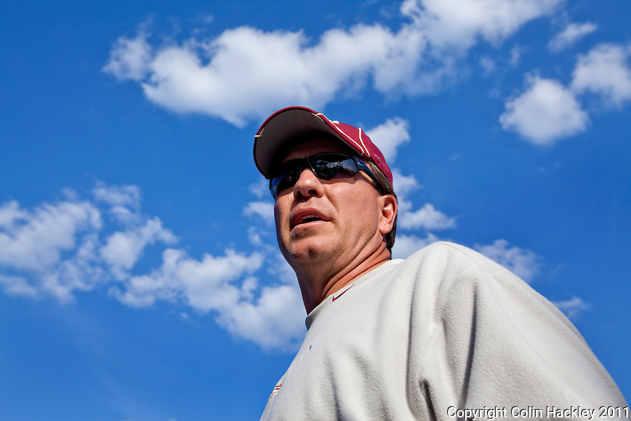 TALLAHASSEE, FLA. 3/3/11-FSU030311 CH-Head Coach Jimbo Fisher talks with the media after Florida State University spring football conditioning drills Thursday in Tallahassee..COLIN HACKLEY PHOTO