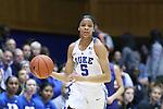 10 February 2017: Duke's Leaonna Odom. The Duke University Blue Devils hosted the Syracuse University Orange at Cameron Indoor Stadium in Durham, North Carolina in a 2016-17 Division I Women's Basketball game. Duke won the game 72-55.