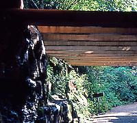 F.L. Wright: Fallingwater. Path, concrete lattice, 'round back.  Photo '76.