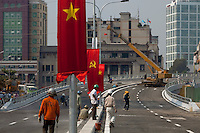 Construction progresses on a bridge connecting District 1 to District 4 in Ho Chi Minh City, Vietnam...Kevin German / LUCEO