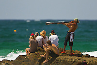 SNAPPER ROCKS, Queensland/Australia (Monday, 27 February, 2012) Did– The Quiksilver Pro Gold Coast presented by Land Rover, the opening stop on the 2012 Men's ASP World Championship Tour, ran for the fourth consecutive day at Snapper Rocks today, in two-to-three foot (1 metre) waves at Snapper Rocks.. .Adriano De Souza (BRA), 25, won the first three-man, non-elimination heat of Round 4 of the Quiksilver Pro. The lead changed multiple times between De Souza, Owen Wright (AUS), 22, and Josh Kerr (AUS), 27, with the Brazilian taking out the two Australians and advancing directly into the Quarterfinals.. .De Souza will once again face Owen Wright (AUS), 22, who went on to win his afternoon Round 5 heat, in Quarterfinal 1 when competition resumes.. .Kelly Slater (USA), 40, reigning 11 x ASP World Champion and last year's Quiksilver Pro winner, didn't take his foot off the gas in his morning Round 4 heat win. The iconic Floridian built momentum throughout the affair, even changing equipment mid-heat to adjust to the conditions. .Slater will now face Josh Kerr (AUS), 27, in Quarterfinal 2 when competition resumes.. .Jordy Smith (ZAF), 24, edged out Joel Parkinson (AUS), 30, and Miguel Pupo (BRA), 20, in an exciting Round 4 exchange at Snapper Rocks. Smith and Parkinson put on an epic show for the crowd and finished the heat with only 0.14 separating their score lines..Photo: joliphotos.com