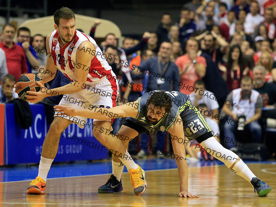 Kosarka Euroleague season 2015-2016<br /> Euroleague <br /> Crvena Zvezda v Real Madrid<br /> Marko Guduric and Sergio Llull (R)<br /> Beograd, 27.11.2015.<br /> foto: Srdjan Stevanovic/Starsportphoto &copy;