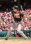 15 May 2016: Miami Marlins second baseman Derek Dietrich in action against the Washington Nationals at Nationals Park in Washington, DC. The Marlins defeated the Nationals 5-1 in the final game of their 4-game series.  Mandatory Credit: Ed Wolfstein Photo *** RAW (NEF) Image File Available ***