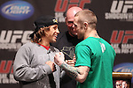 March 16, 2011; New York, NY; USA; Urijah Faber (l) and Eddie Wineland (r) at the final press conference for UFC 128.  The card will take place on Saturday March 19, 2011, at the Prudential Center in Newark, NJ.