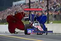 Oct. 6, 2012; Mohnton, PA, USA: NHRA top fuel dragster driver Ike Maier during qualifying for the Auto Plus Nationals at Maple Grove Raceway. Mandatory Credit: Mark J. Rebilas-