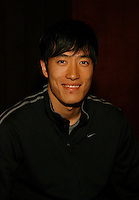 Liu Xiang of China and World Record Holder in the 110m Hurdles of 12.88sec. at the Prefontaine Classic Press Conference held at the Valley River Inn in Eugene, Or. on Saturday, June 7, 2008. Photo by Errol Anderson, The Sporting Image.