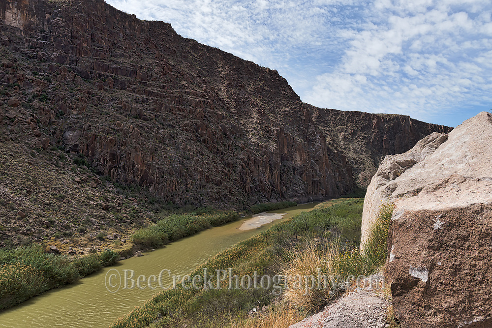 Looking up the Rio Grande River deep in the canyons