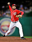 23 April 2010: Washington Nationals' pitcher Miguel Batista on the mound in relief against the Los Angeles Dodgers at Nationals Park in Washington, DC. The Nationals defeated the Dodgers 5-1 in the first game of their 3-game series. Mandatory Credit: Ed Wolfstein Photo