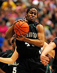 13 February 2011: Binghamton University Bearcat forward Javon Ralling, a Sophomore from  Harlem, NY, in action against the University of Vermont Catamounts at Patrick Gymnasium in Burlington, Vermont. The Catamounts came from behind to defeat the Bearcats 60-51 in their America East matchup. The Cats took part in the National Pink Zone Breast Cancer Awareness Program by wearing special white jerseys with pink trim. The jerseys were auctioned off following the game with proceeds going to the Vermont Cancer Center. Mandatory Credit: Ed Wolfstein Photo