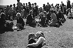 Young couple kiss and embrace at the Durham Miners Gala, Durham England 1974