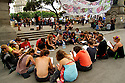 Indignados sitting in a circle in Plac?a de Catalunya in Barcelona.