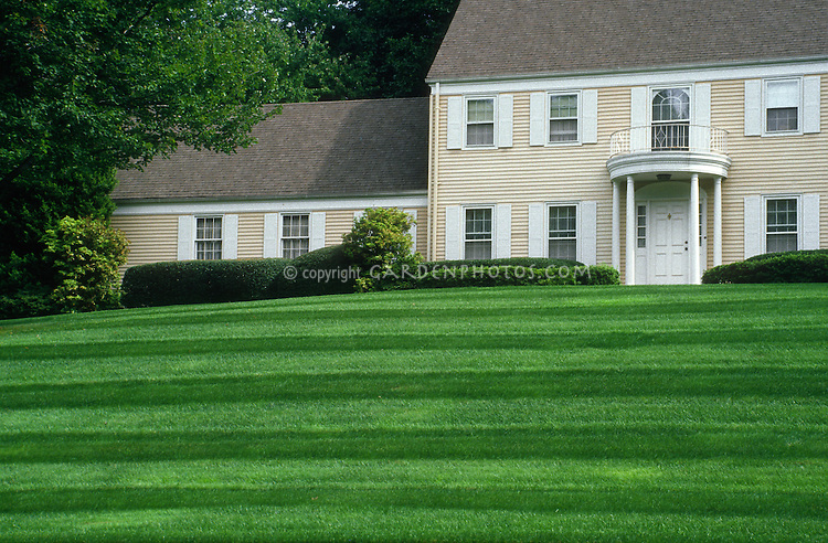 Gorgeous lawn and landscaping, perfect grass with stripes, on a slope, with yellow Colonial style home with shutters, front door portico, balcony, arched window, roof, trees, and immaculate green grass. New Jersey.