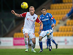 St Johnstone v Ross County...11.08.15...SPFL..McDiarmid Park, Perth.<br /> Murray Davidson and Liam Boyce<br /> Picture by Graeme Hart.<br /> Copyright Perthshire Picture Agency<br /> Tel: 01738 623350  Mobile: 07990 594431
