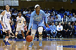 01 March 2015: North Carolina's Stephanie Mavunga (1) inadvertently heads the wrong way after the opening tip-off. The Duke University Blue Devils hosted the University of North Carolina Tar Heels at Cameron Indoor Stadium in Durham, North Carolina in a 2014-15 NCAA Division I Women's Basketball game. Duke won the game 81-80.