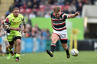 Jack Roberts of Leicester Tigers puts boot to ball. Aviva Premiership match, between Leicester Tigers and Sale Sharks on April 29, 2017 at Welford Road in Leicester, England. Photo by: Patrick Khachfe / JMP