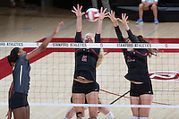 STANFORD, CA - September 9, 2016: Kathryn Plummer. Audriana Fitzmorris at Maples Pavilion. The Purdue Boilermakers defeated the Stanford Cardinal 3 - 2.
