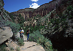 hikers at Bandelier National Monument